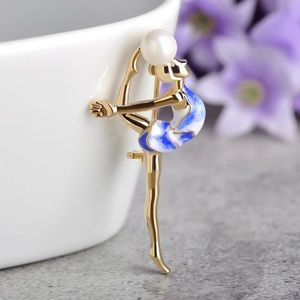 Jewelry - Fashion Gymnastics Girl Brooch with Pearl